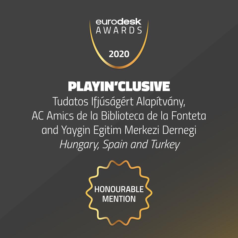PlayIn'Clusive projektünk bekerült az európai projektek legjobbaji közé